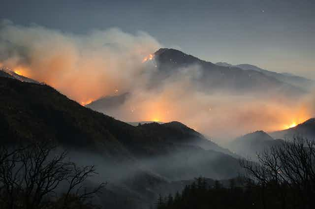 Several fires flare up on mountain sides