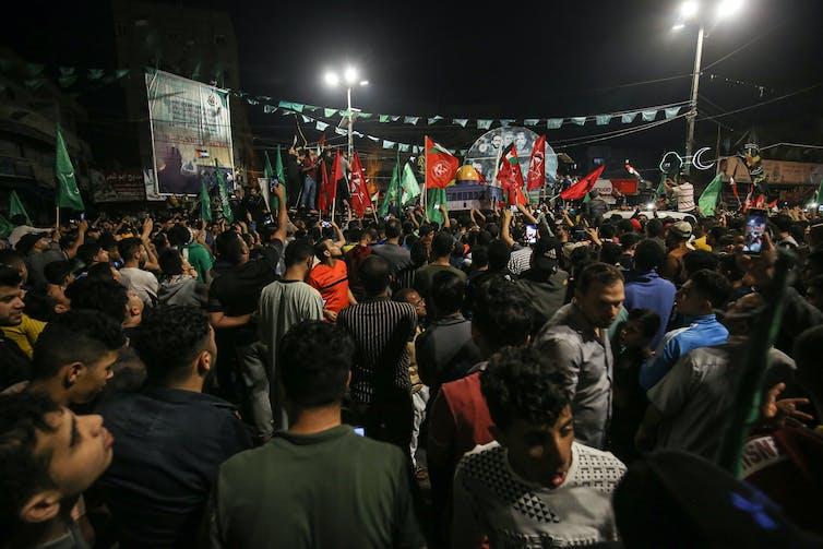 Crowds celebrating in Gaza