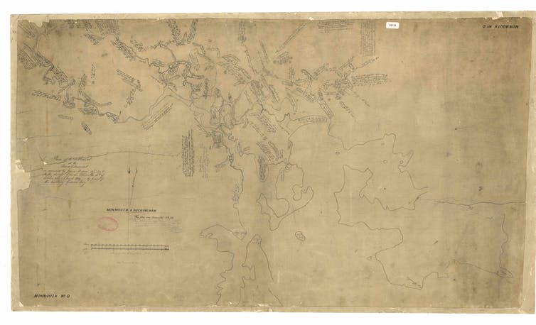 rough looking map showing Derwent River and surrounding terrain