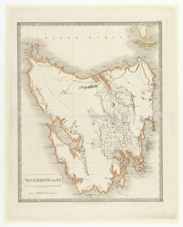 Map of Van Diemen's Land/Tasmania. Macquarie Harbour on the west coast is enormous.