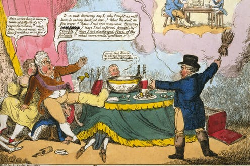 A satirical cartoon showing the Prince Regent and his mistress eating and drinking while being berated for their decadence.