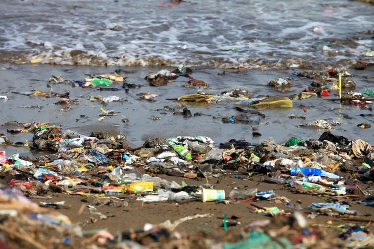 Garbage pollution at a beach.