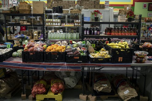 A table with fresh fruit on display at a food panty in Portland, Maine