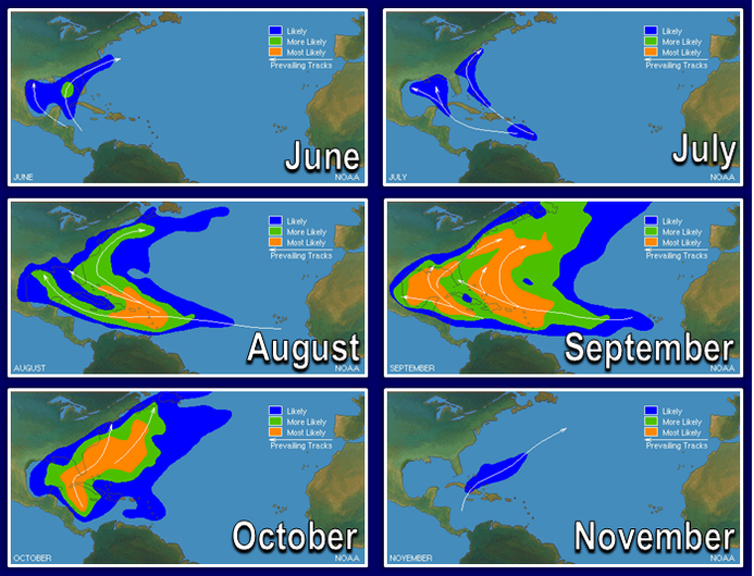 Maps of storm activity by month