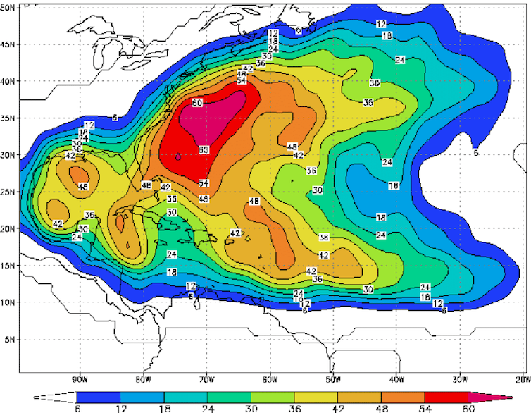 A map of storm probabilities over the Atlantic coasts