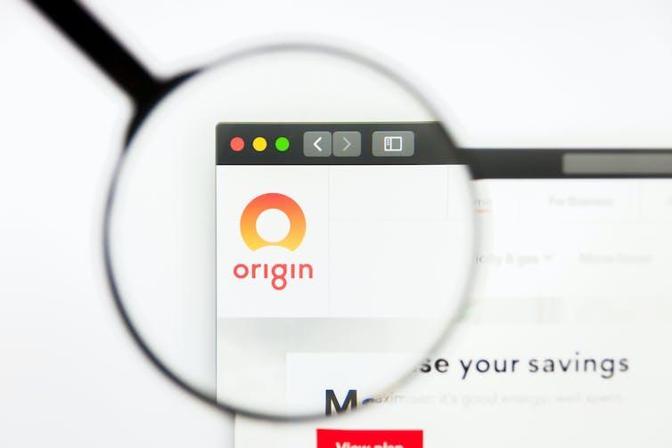 magnifying glass on Origin website