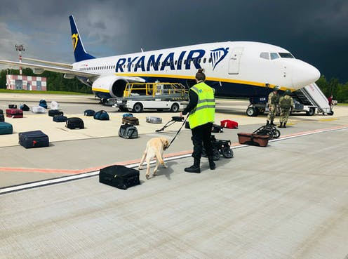 Airport security with a sniffer dog checking the luggage of passengers in front of the Ryanair Boeing 737-8AS (flight FR4978), carrying opposition figure Roman Protasevich.