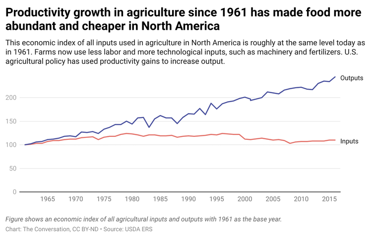A line graph showing the economic index of agricultural inputs and outputs from 1961 to present day.