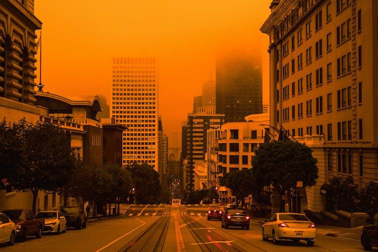 An orange glow over San Francisco.