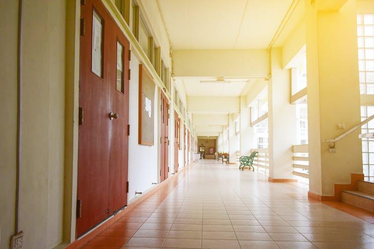 An empty campus hallway.