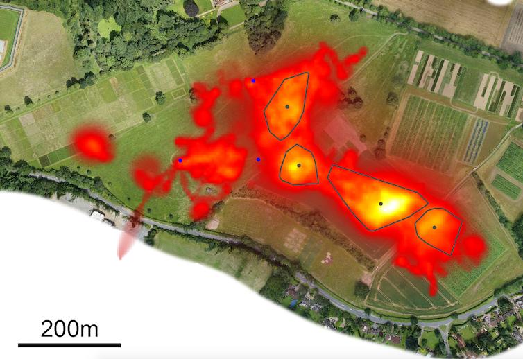 Une carte thermique montrant où les drones ont volé.