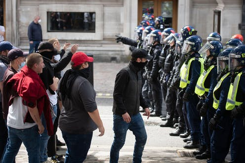far-right protesters clash with police following Black Lives Matter protests
