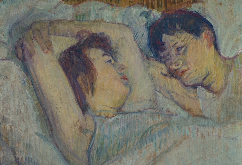 A painting of a woman lying in bed next to a man.