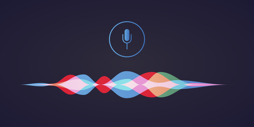illustration of colourful soundwaves with a microphone item over them