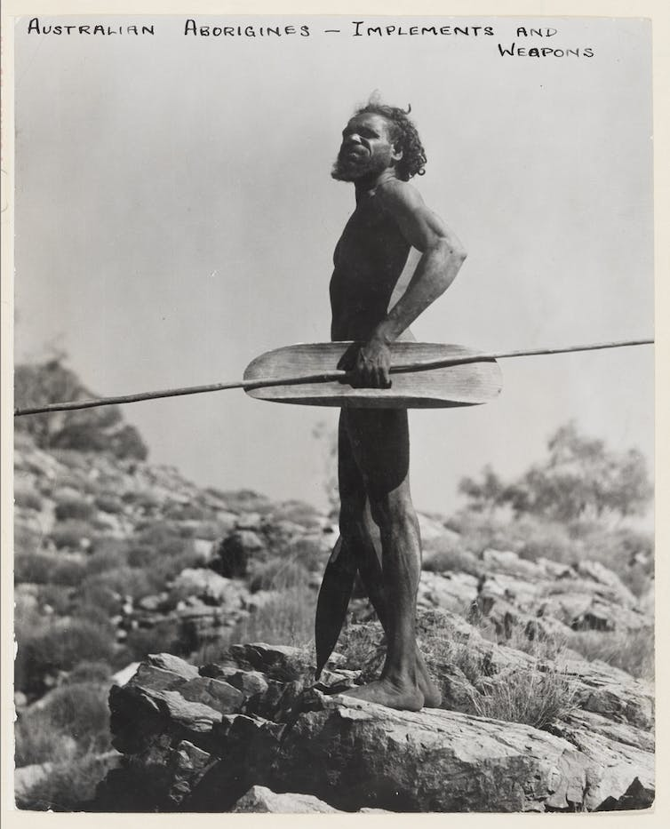 Indigenous man with spear
