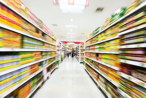 Blur of supermarket shelves