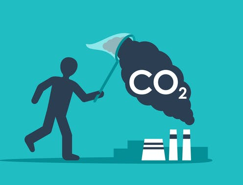 A cartoon of a person catching CO2 from factories in a net.