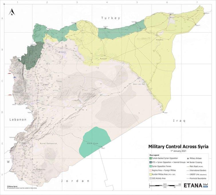Carte de la Syrie montrant les zones de contrôle