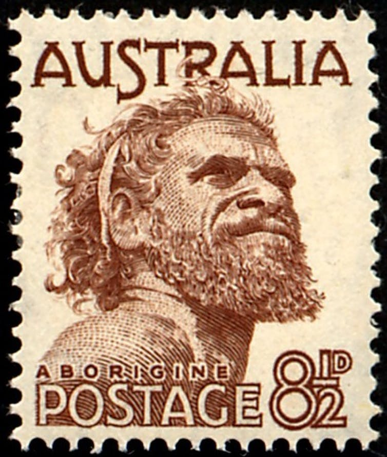Indigenous man on postage stamp