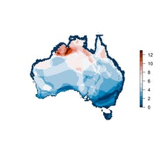 Map of Australia shaded in colours from blue to red.