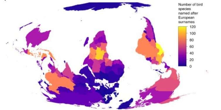 map showing bird names