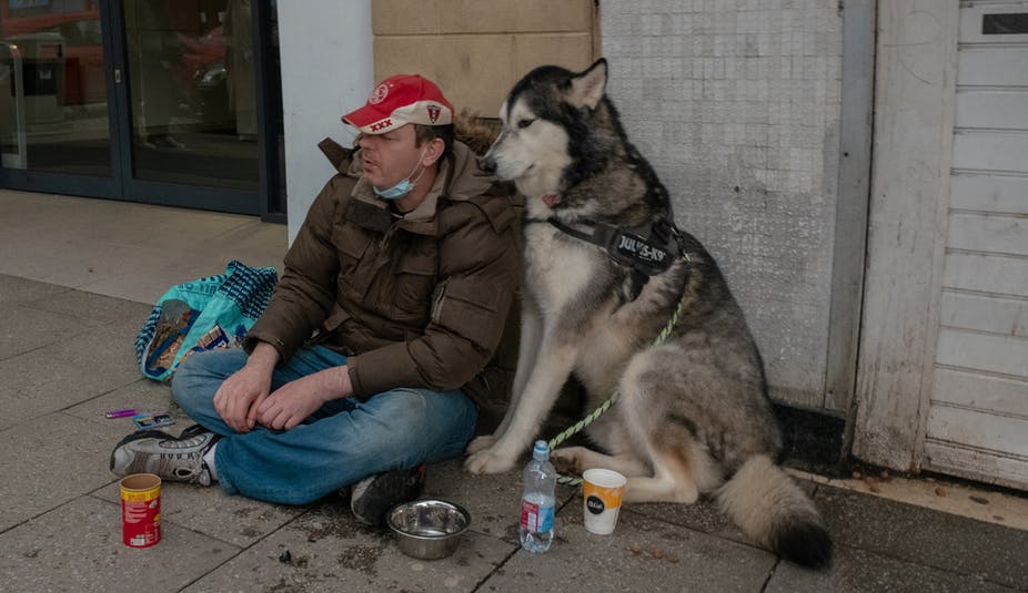 A homeless man and his dog on the streets of Stirling during the COVID-19 pandemic.