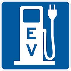 Señal de punto de recarga de coche eléctrico