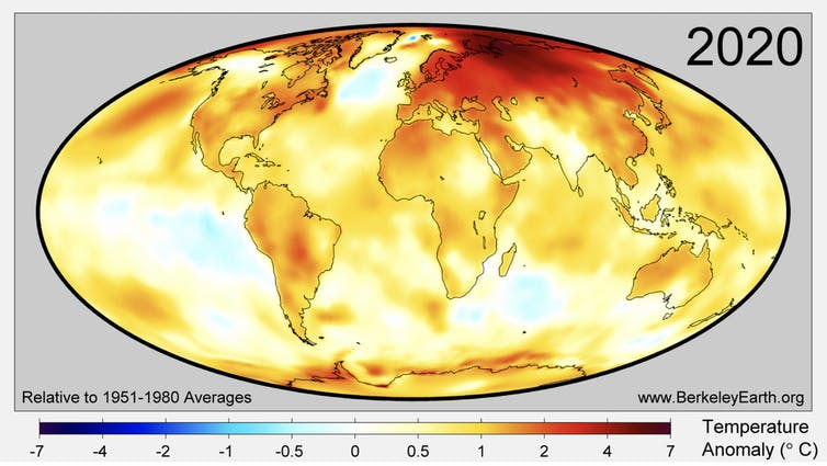 A map showing which parts of the world are warming faster than others.