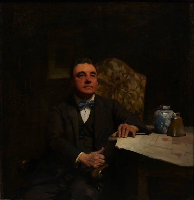 A dour oil portrait.