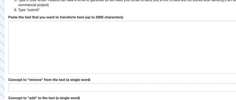 Screenshot of natural language processing tool