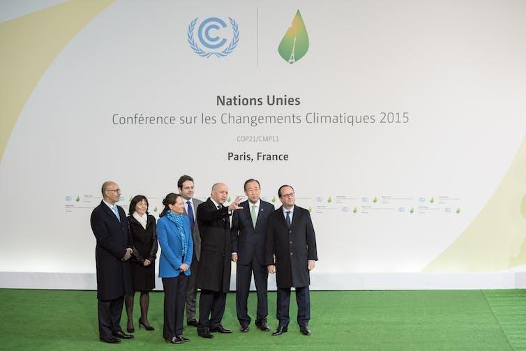 François Hollande, Ban Ki-moon, Laurent Fabius, Segolene Royal and Harlem Desir waiting Heads of state during the arrival at the Paris COP21