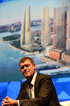 James Packer with an artist's impression of his Crown Casino Barangaroo development proposal at a business function at the Sydney Opera House, May 16 2013.