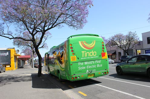 Solar electric bus in Adelaide street in 2013