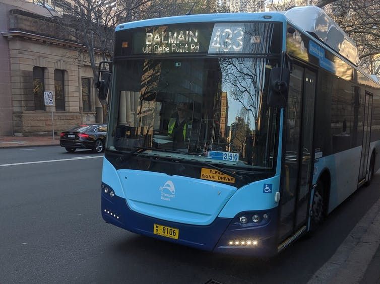 electric bus operating on the Balmain route in Sydney