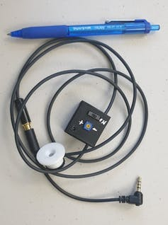 Miniature microphone, amp box and cord