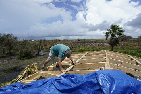 Wind does the most damage during hurricanes, often tearing roofs from buildings.