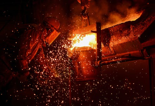 steelworker at furnace