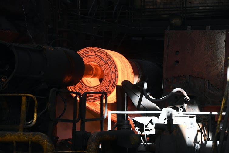Roll of red-hot steel