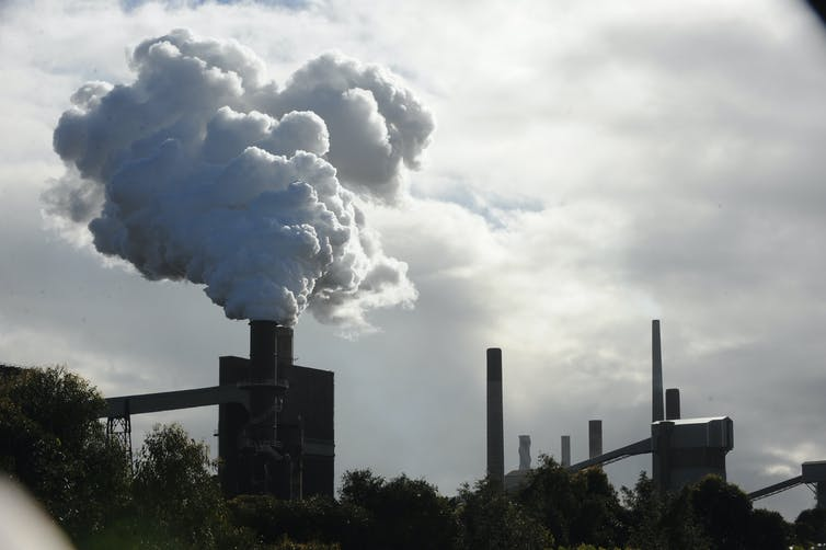 Smoke billows from steel plant