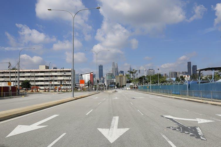 An empty street in Kuala Lumpur