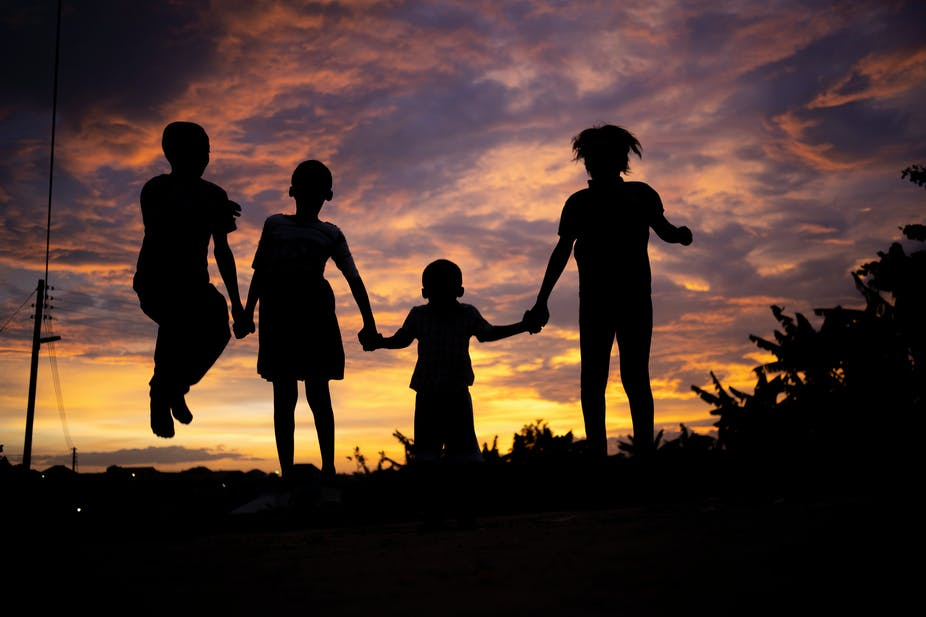 Silhouette image of kids-out door concept.
