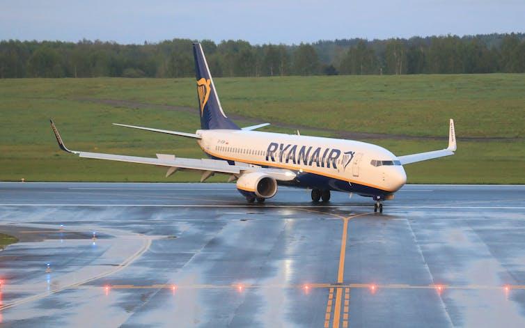 A Ryanair plane on a runway