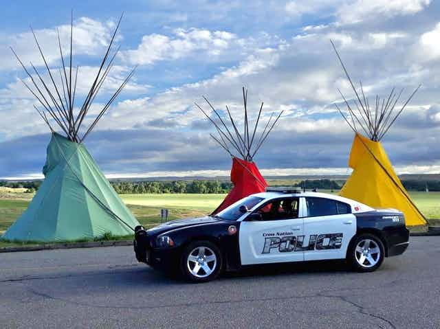 A Crow Nation Police car on Crow Nation land
