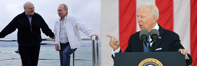 Left: Alexander Lukashenko and Vladimir Putin pose casually by the railing of a yacht. Right: Joe Biden stands at a podium delivering a speech with the American flag hanging behind him. Right: Alexander Lukashenko walks down stairs looking stern.