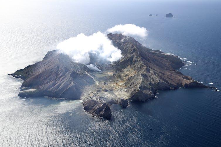 Aerial view of Whakaari White Island