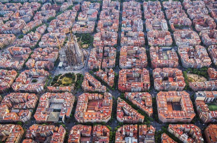 aerial view of gridded city