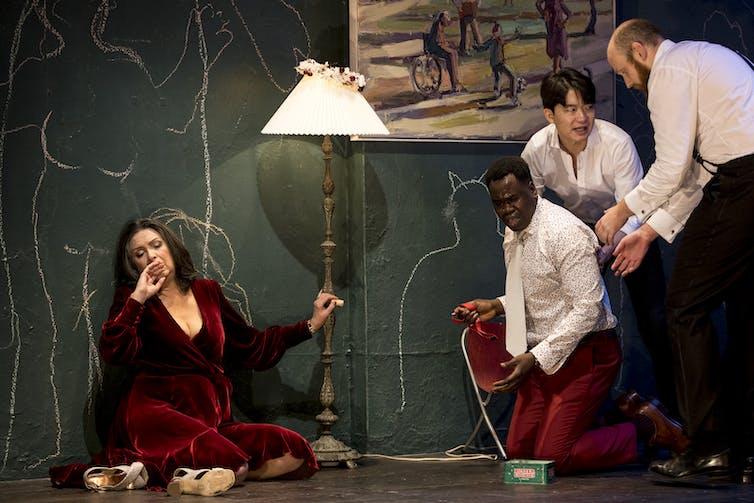 actors in stage scene