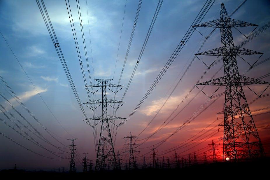 Electricity pylons at sundown