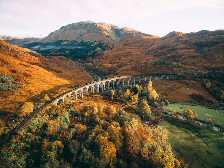 The Glenfinnan train viaduct near Fort William in Scotland