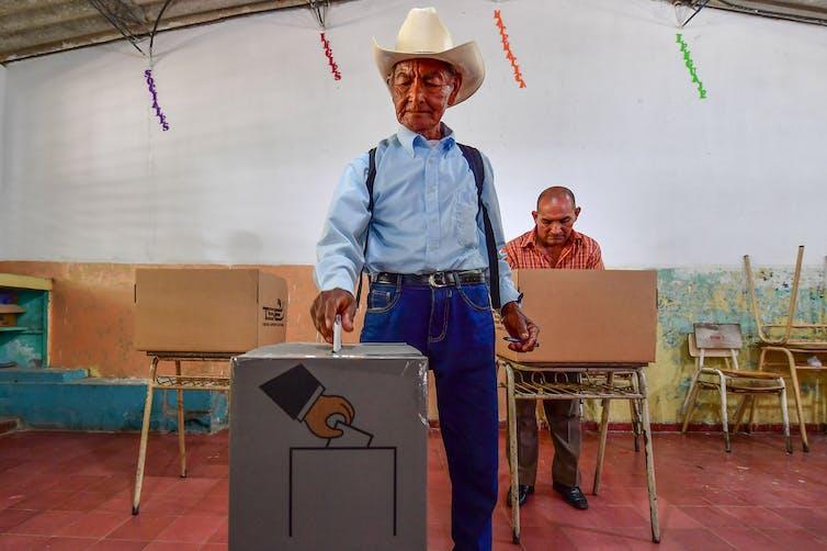 A farmer casts his ballot